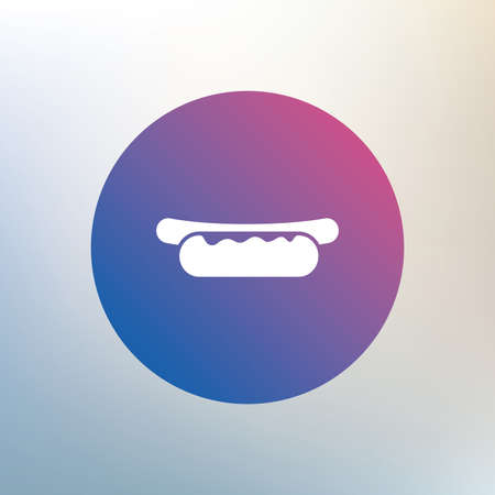 hotdog sandwiches: Hotdog sandwich with mustard icon. Sausage symbol. Fast food sign. Icon on blurred background. Vector Illustration