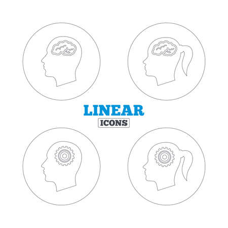 pigtail: Head with brain icon. Male and female human think symbols. Cogwheel gears signs. Woman with pigtail. Linear outline web icons. Vector Illustration
