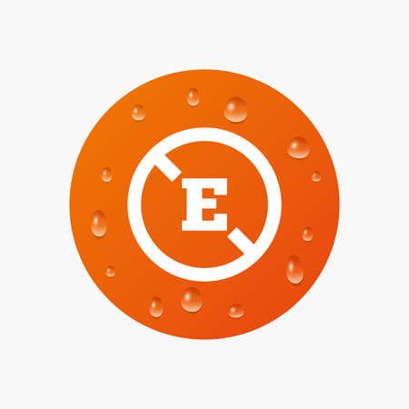 stabilizers: Gotas de agua sobre el bot�n. Aditivo alimentario signo icono. Sin s�mbolo E. Alimento natural sano. Las gotas de agua pura realistas. C�rculo naranja. Vector