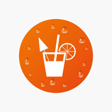 alcoholic drink: Water drops on button. Cocktail sign. Alcoholic drink symbol. Realistic pure raindrops. Orange circle. Vector