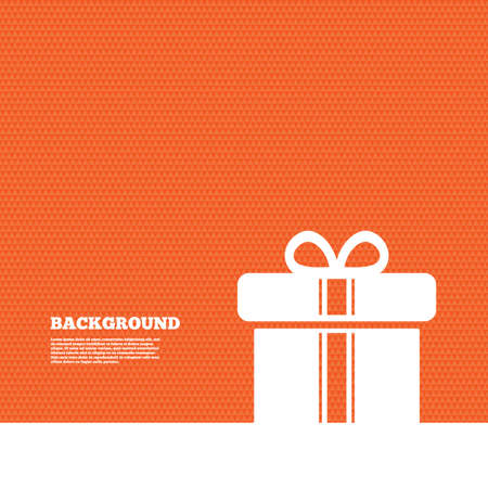 orange texture: Background with seamless pattern. Gift box sign icon. Present with ribbons symbol. Triangles orange texture. Vector