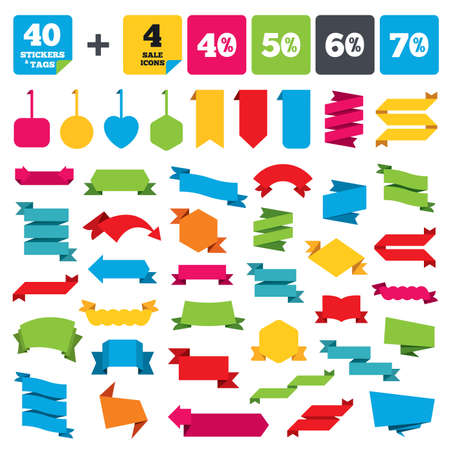50 to 60: Web stickers, banners and labels. Sale discount icons. Special offer price signs. 40, 50, 60 and 70 percent off reduction symbols. Price tags set. Vector Illustration