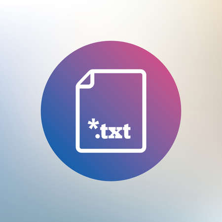 file extension: Text file icon. Download txt doc button. Txt file extension symbol. Icon on blurred background. Vector