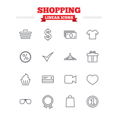 cash box: Shopping linear icons set. Shopping cart, dollar currency and cash money. Shirt clothes, gift box and hanger. Credit or debit card. Thin outline signs. Flat vector