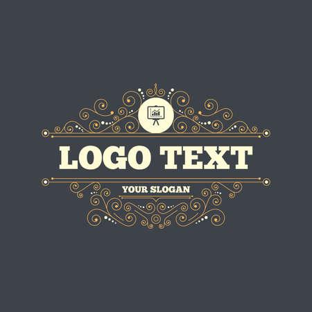 ppt: Presentation billboard sign icon. Scheme and Diagram symbol. Flourishes calligraphic ornament. Vector