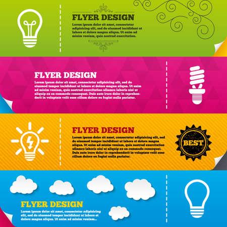 Flyer brochure designs. Light lamp icons. Fluorescent lamp bulb symbols. Energy saving. Idea and success sign. Frame design templates. Vector Illustration