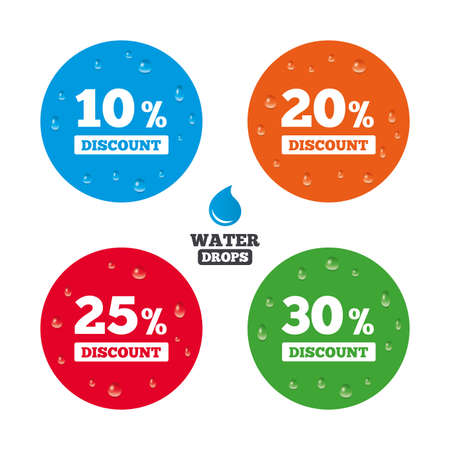 20 to 25: Water drops on button. Sale discount icons. Special offer price signs. 10, 20, 25 and 30 percent off reduction symbols. Realistic pure raindrops on circles. Vector Illustration