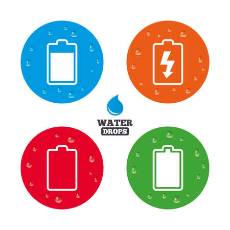 Water drops on button. Battery charging icons. Electricity signs symbols. Charge levels: full, empty. Realistic pure raindrops on circles. Vector