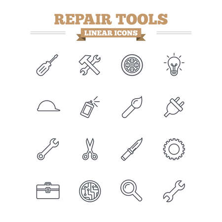 plug hat: Repair tools linear icons set. Hammer with wrench key, wheel and brush. Screwdriver, electric plug and scissors. Circuit board, magnifying glass and construction helmet. Thin outline signs. Flat vector