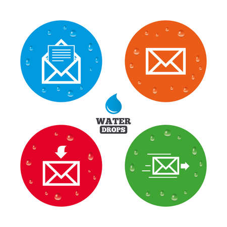 outbox: Water drops on button. Mail envelope icons. Message document delivery symbol. Post office letter signs. Inbox and outbox message icons. Realistic pure raindrops on circles. Vector