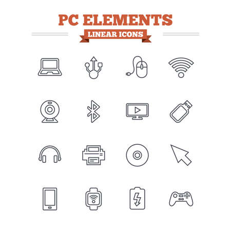 usb port: Computer elements linear icons set. Notebook, usb port and smartphone. Printer, smart watch and game console joystick. Bluetooth, flash stick and cursor pointer. Thin outline signs. Flat vector