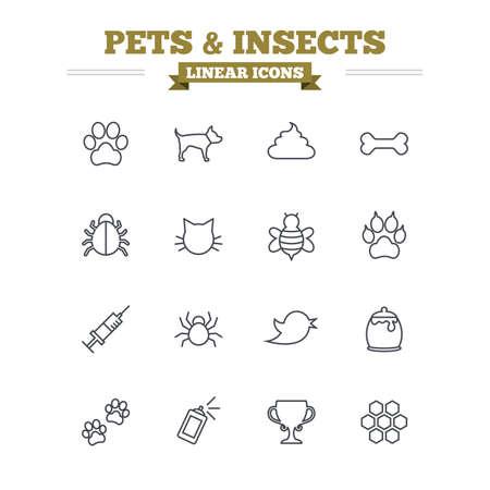 excrement: Icone animali e insetti lineari set. Zampa del cane. Zampa del gatto con le frizioni. Bone, feci escrementi e la vaccinazione. Miele, api e miele di favo. Segni contorno sottili. Piatto vettore