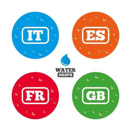 gb: Water drops on button. Language icons. IT, ES, FR and GB translation symbols. Italy, Spain, France and England languages. Realistic pure raindrops on circles. Vector