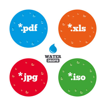 Water drops on button. Document icons. File extensions symbols. PDF, XLS, JPG and ISO virtual drive signs. Realistic pure raindrops on circles. Vector Illustration
