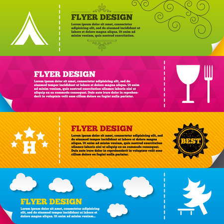 break down: Flyer brochure designs. Food, hotel, camping tent and tree icons. Wineglass and fork. Break down tree. Road signs. Frame design templates. Vector