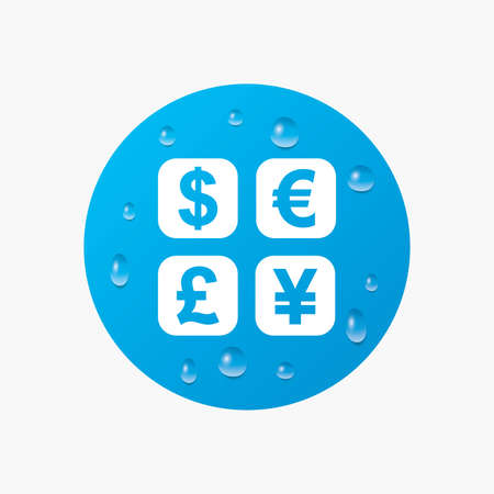 currency converter: Water drops on button. Currency exchange sign icon. Currency converter symbol. Money label. Realistic pure raindrops. Blue circle. Vector