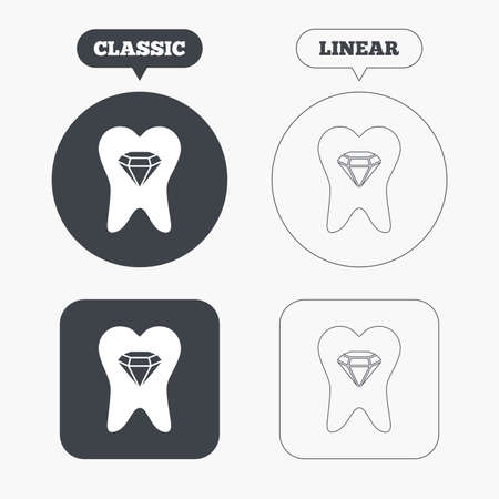 prestige: Tooth crystal icon. Tooth jewellery sign. Dental prestige symbol. Classic and line web buttons. Circles and squares. Vector