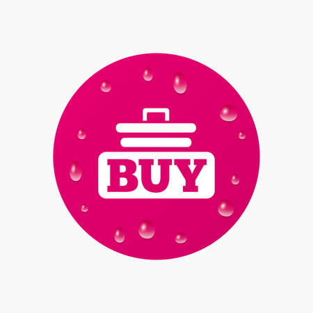 Water drops on button. Buy sign icon. Online buying cart button. Realistic pure raindrops. Pink circle. Vector