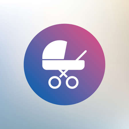 Baby pram stroller sign icon. Baby buggy. Baby carriage symbol. Icon on blurred background. Vector Illustration
