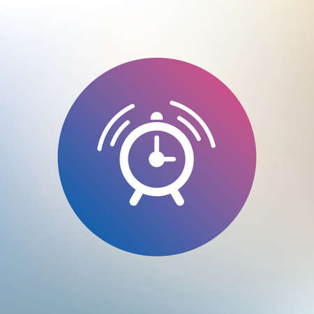 sign up: Alarm clock sign icon. Wake up alarm symbol. Icon on blurred background. Vector