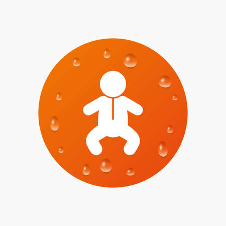 crawlers: Water drops on button. Baby infant sign icon. Toddler boy in pajamas or crawlers body symbol. Child WC toilet. Realistic pure raindrops. Orange circle. Vector