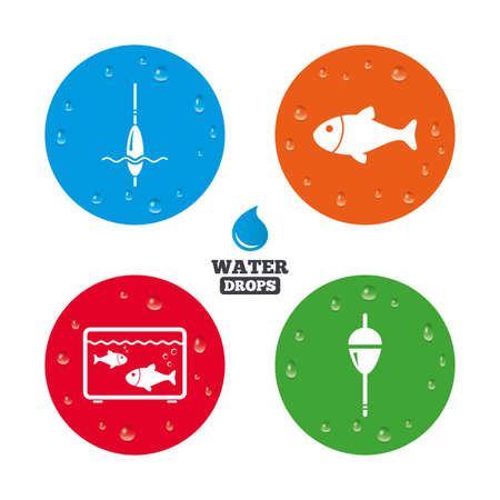 bobber: Water drops on button. Fishing icons. Fish with fishermen hook sign. Float bobber symbol. Aquarium icon. Realistic pure raindrops on circles. Vector