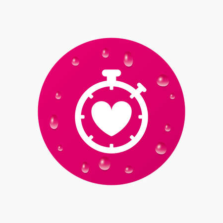 palpitation: Water drops on button. Heart Timer sign icon. Stopwatch symbol. Heartbeat palpitation. Realistic pure raindrops. Pink circle. Vector Illustration