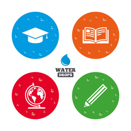 study icon: Water drops on button. Pencil and open book icons. Graduation cap and geography globe symbols. Education learn signs. Realistic pure raindrops on circles. Vector Illustration