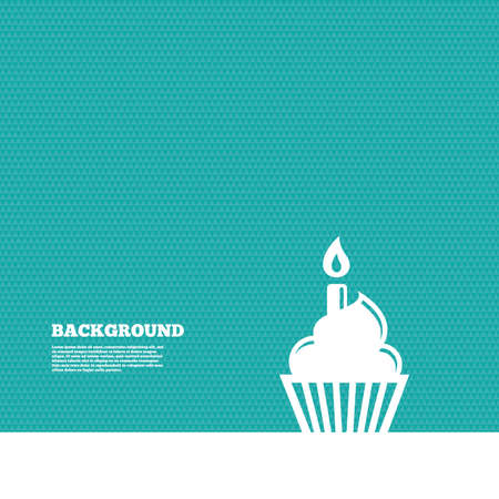 birthday cake: Background with seamless pattern. Birthday cake sign icon. Cupcake with burning candle symbol. Triangles green texture. Vector Illustration