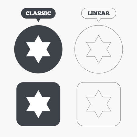 jewish star: Star of David sign icon. Symbol of Israel. Jewish hexagram symbol. Shield of David. Classic and line web buttons. Circles and squares. Vector