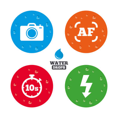 auto focus: Water drops on button. Photo camera icon. Flash light and autofocus AF symbols. Stopwatch timer 10 seconds sign. Realistic pure raindrops on circles. Vector Illustration