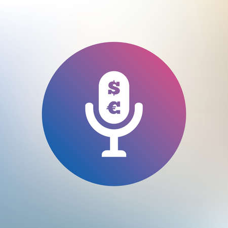 usr: Microphone icon. Speaker symbol. Paid music sign. Icon on blurred background. Vector