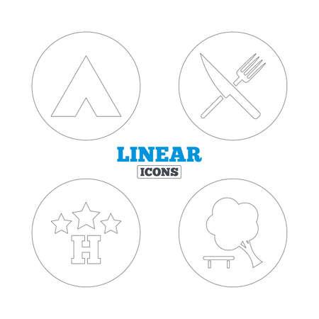 fourchette  route: Alimentation, h�tel, camping et tentes arbres ic�nes. Couteau et une fourchette. D�composer arbre. Les panneaux de signalisation. Lin�aires web ic�nes de contour. Vecteur