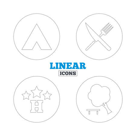 break down: Food, hotel, camping tent and tree icons. Knife and fork. Break down tree. Road signs. Linear outline web icons. Vector Illustration