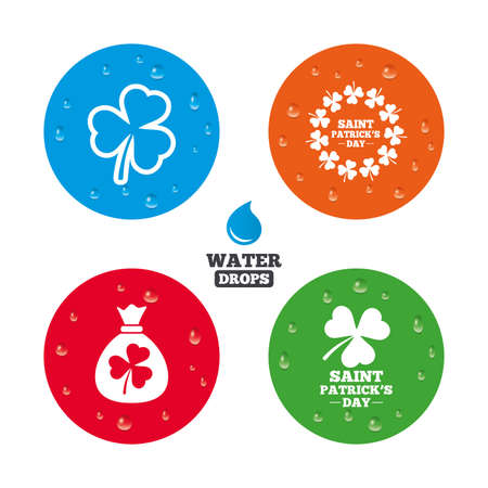 feast of saint patrick: Water drops on button. Saint Patrick day icons. Money bag with clover sign. Wreath of trefoil shamrock clovers. Symbol of good luck. Realistic pure raindrops on circles. Vector Illustration