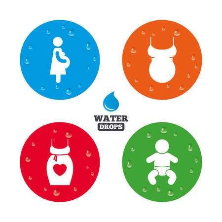 wet shirt: Water drops on button. Maternity icons. Baby infant, pregnancy and shirt signs. Dress with heart symbol. Realistic pure raindrops on circles. Vector Illustration