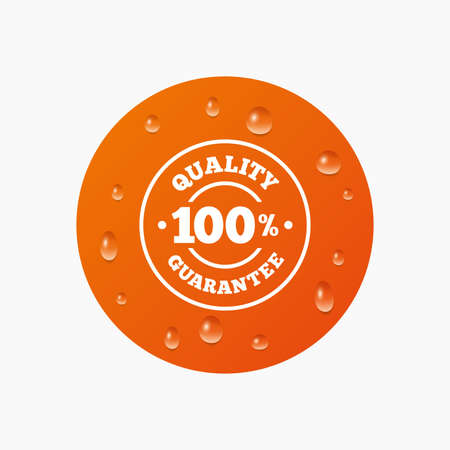 water quality: Water drops on button. 100% quality guarantee sign icon. Premium quality symbol. Realistic pure raindrops. Orange circle. Vector Illustration