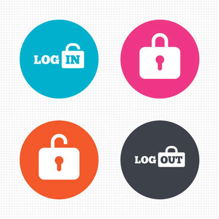 log: Circle buttons. Login and Logout icons. Sign in or Sign out symbols. Lock icon. Seamless squares texture. Vector