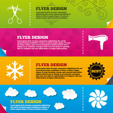 blow drying: Flyer brochure designs. Hotel services icons. Air conditioning, Hairdryer and Ventilation in room signs. Climate control. Hairdresser or barbershop symbol. Frame design templates. Vector