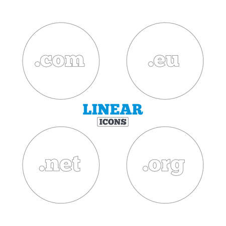 dns: Top-level internet domain icons. Com, Eu, Net and Org symbols. Unique DNS names. Linear outline web icons. Vector Illustration