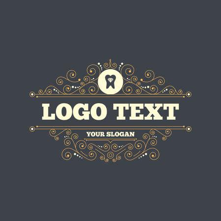 prestige: Tooth crystal icon. Tooth jewellery sign. Dental prestige symbol. Flourishes calligraphic ornament. Vector Illustration