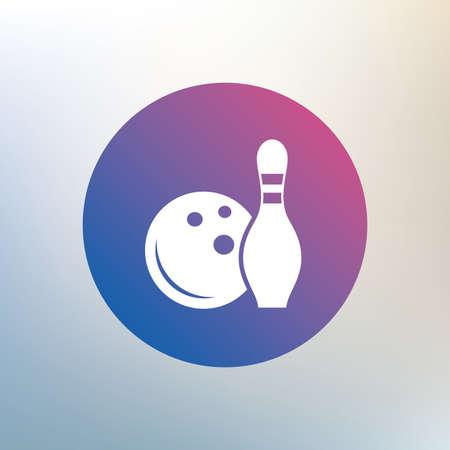 kegelen: Bowling spel teken icoon. Bal met pin skittle symbool. Pictogram op onscherpe achtergrond. Vector