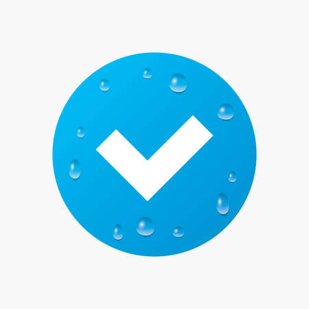yes button: Water drops on button. Check sign icon. Yes button. Realistic pure raindrops. Blue circle. Vector Illustration