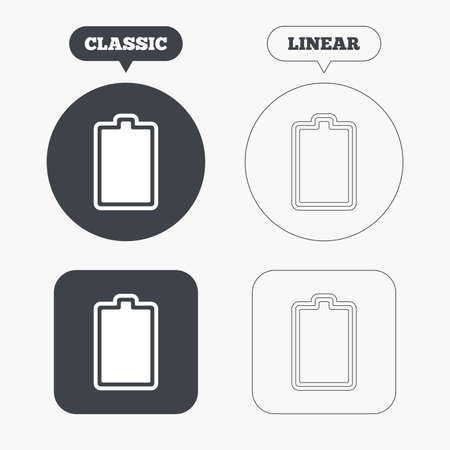 charged: Battery fully charged sign icon. Electricity symbol. Classic and line web buttons. Circles and squares. Vector