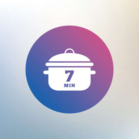 stew: Boil 7 minutes. Cooking pan sign icon. Stew food symbol. Icon on blurred background. Vector