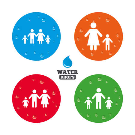 orphan: Water drops on button. Family with two children icon. Parents and kids symbols. One-parent family signs. Mother and father divorce. Realistic pure raindrops on circles. Vector