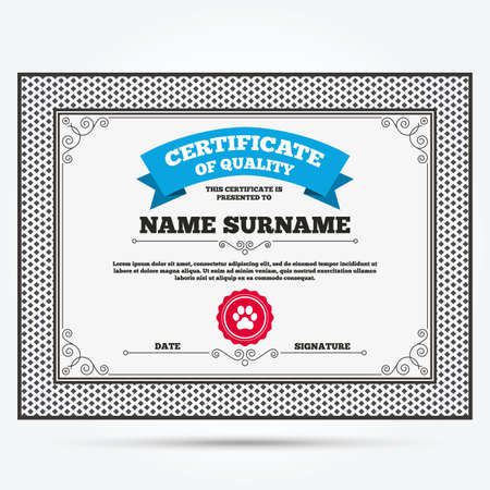 dog allowed: Certificate of quality. Dog paw sign icon. Pets symbol. Template with vintage patterns. Vector