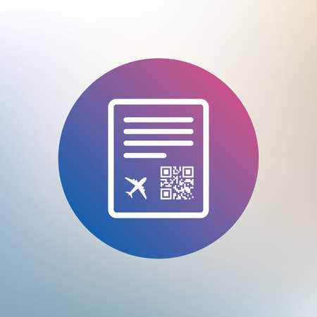 boarding: Boarding pass flight sign icon. Airport ticket symbol. Icon on blurred background. Vector