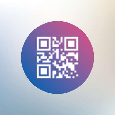 coded: Qr code sign icon. Scan code symbol. Coded word - success! Icon on blurred background. Vector Illustration