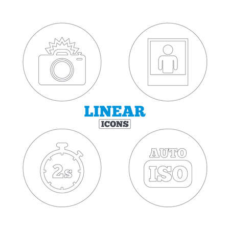 web 2: Photo camera icon. Flash light and Auto ISO symbols. Stopwatch timer 2 seconds sign. Human portrait photo frame. Linear outline web icons. Vector